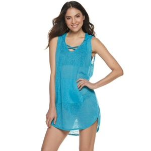 NWT Miken Swim Cover Up X-Strap Sleeveless Hooded